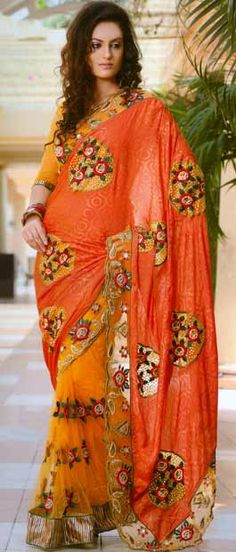 Deep Peach and Mustard Jacquard #Saree With Blouse @ $140.97   Shop Here: http://www.utsavfashion.com/store/sarees-large.aspx?icode=ssx2705