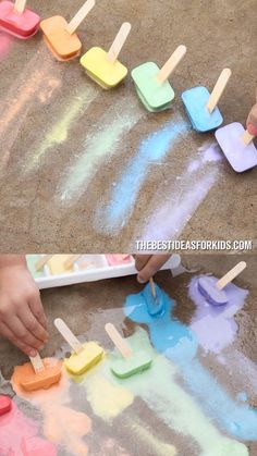 Kids Crafts CHALK ICE 🌈 such a fun summer activity for kids! Great way to use up old pieces of sidewalk chalk too! you can find similar pins below. Toddler Learning Activities, Art Activities For Kids, Summer Activities For Kids, Infant Activities, Summer Kids, Nanny Activities, Kids Fun, Water Activities, Activities For 2 Year Olds Indoor