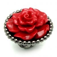 Red Rose Ring-This beautifully carved red resin rose is set in a bold beaded border texture in Hematite plating; making it an unforgettable fashion statement. $48 www.jillzarinjewelry.com