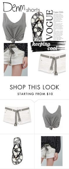 """""""Keeping Cool"""" by rainbow1027 ❤ liked on Polyvore featuring MANGO, Tory Burch, Lands' End, jeanshorts, denimshorts and cutoffs"""