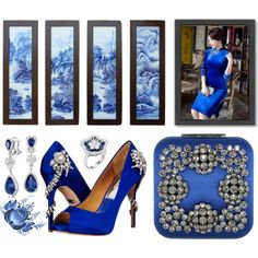 A fashion look from April 2017 featuring Badgley Mischka pumps, Manolo Blahnik clutches and Blue Nile earrings. Browse and shop related looks.