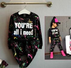 Купить товар Новинка девушки костюм детей спортивной одежды комплект coloful письмо печатные дети костюм комплект одежды для 2 7лет в категории Комплекты одежды на AliExpress. (1) Название продукта: девушки алфавит установить (2) Номер продукта Тип и размер: 100-110-120-130-140/tz110