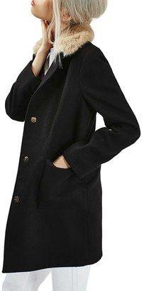 Shop Now - >  https://api.shopstyle.com/action/apiVisitRetailer?id=601022521&pid=2254&pid=uid6996-25233114-59 Women's Topshop Faux Fur Collar Coat  ...