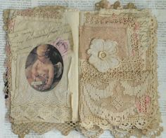 Mixed Media Fabric Collage Book of French Roses | eBay