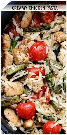 Rich and delicious Creamy Chicken Pasta, loaded with chicken, orzo, asparagus, and tomatoes, tossed in a creamy sauce that pulls it all together.