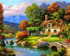 Scenery Diamond Painting Cross Stitch Patterns Full Drill Diamond Mosaic Embroidery Pictures Home Decoration Scenery Paintings, Cool Paintings, Landscape Paintings, Pour Painting, Gouache Painting, Diy Painting, Mosaic Art Projects, River Cottage, Creative Activities