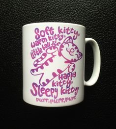 Super Cute Soft Kitty Mug with Name or message in Pinks, Blues or Oranges