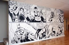 This disappeared for some reason so I am re-pinning........3 1/2 years in the house and finally beginning the Man Cave, starting with a 14' comic book mural