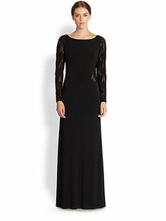 Laundry by Shelli Segal - Lace & Jersey Gown - Saks.com