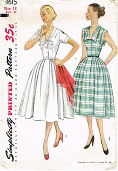 """Simplicity Pattern 3615 Original Vintage Sewing Pattern Misses Rockabilly Dress Pattern with Cute Sleeve Design Dated 1951 Complete Nice Condition 11 of 11 Pieces Counted. Verified. Guaranteed. Nice Condition Overall Size 15 (33"""" Bust)"""