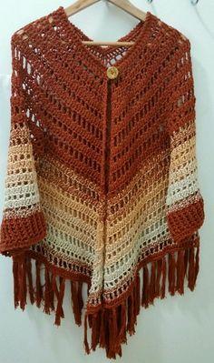 Jacinta Fringe Hand-Crochet Kimono in Gold Crochet Coat, Crochet Cardigan Pattern, Crochet Tunic, Easy Crochet Patterns, Crochet Clothes, Hand Crochet, Crochet Slippers, Crochet Accessories, Diy Crafts