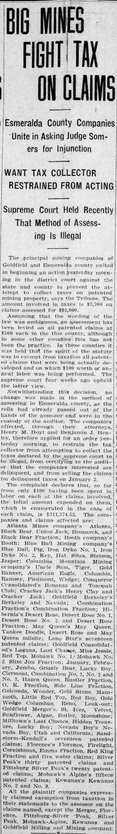Reno Gazette-Journal, 22 Nov 1919, Sat, Main Edition Ben Henley\u0027s