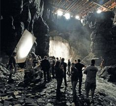 On the set of Batman Begins, directed by Christopher Nolan (2005).