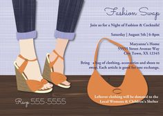 Fashion Swap Party Invitations | Clothing Exchange, Clothes Swap, Clothing party, Fashion, Shoes, Clothing Swap |  Printable File