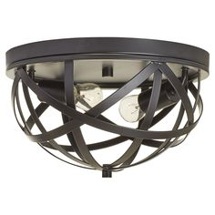 Features:  -Material: Aluminum.  Product Type: -Flush mount.  Finish: -Black.  Material: -Metal.  Number of Lights: -2.  Bulb Type: -Incandescent.  Wattage: -60 Watts.  Material Details: -Aluminum. Di