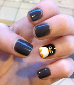 Penguin nail art - nose and beak touch