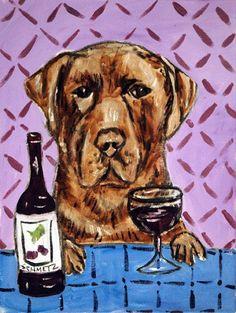 Chocolate Lab at the Wine Bar Dog Art Print by lulunjay on Etsy, $17.99