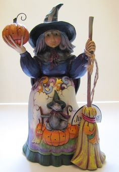 Enesco Jim Shore Heartwood Creek Halloween Witch with Cat and Pumpkin 4016050 | eBay