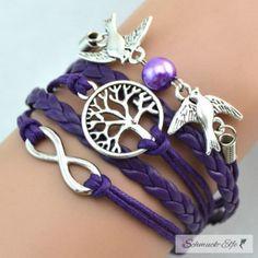 Armband Taube & Lebensbaum mit Perle lila im Organza...