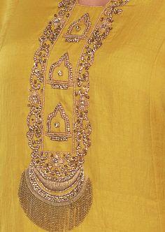 Tuscan Yellow Tunic Dress With Embroidered Neck And Placket Online - Kalki Fashion Zardosi Embroidery, Hand Embroidery Dress, Embroidery On Kurtis, Kurti Embroidery Design, Embroidery Neck Designs, Bead Embroidery Patterns, Couture Embroidery, Embroidery Works, Embroidery Fashion