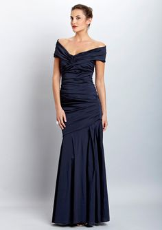 THEIA Off-Shoulder Gown  Strapless gown  Draping off-the-shoulder neckline  Ruching at center of padded bust  Draping pleats and side ruching on upper bodice  Inset pleated skirting at bottom  Hidden back zipper closure  Lined