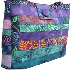 Purse from Batik Scraps in Purple Blue and Teal by Sieberdesigns, $62.00