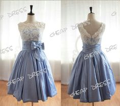 Knee Lenght Lace Satin Bow Scooped Neck Evening Theme Party Prom Gown Bridesmaid Dress on Etsy, $109.00