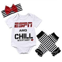 Baby Girls ESPN and Chill with My Daddy Bodysuit and Socks Outfit with Headband