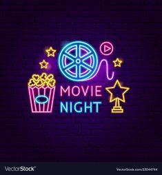 Movie night neon sign vector image on VectorStock Neon Signs Quotes, Neon Sign Art, Neon Led, Neon Words, Neon Wallpaper, Neon Aesthetic, Dark Photography, Instagram Highlight Icons, Neon Lighting
