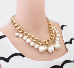 2015 Hot Necklaces Pendants Women Simulated Pearl Necklace Trendy Statement necklace Link Chain Choker necklace