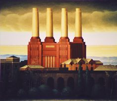 Battersea Power Station  by Renny Tait Rendering Drawing, Battersea Power Station, Art Deco Stil, London Art, Great Britain, Industrial, Landscape, Pink Floyd, Architecture