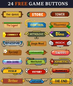 24 Free Game Buttons http://unity3diy.blogspot.com/2015/01/24-free-game-buttons-psd.html