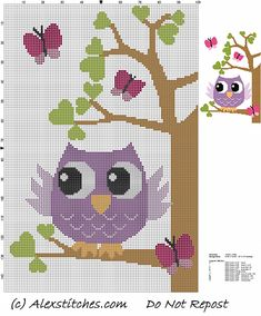 owl on tree with butterflies and hearts cross stitch pattern