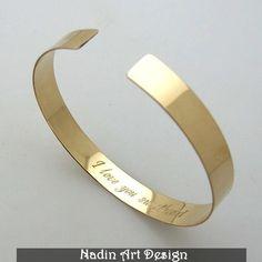 Nachricht Armband / Zitat Graviertes Goldschmuck von NadinArtDesign auf DaWanda.com