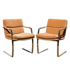 Vtg Pair Mid Century Modern Brass Plated Steel Cantilever Arm Chairs by Preview #MidCenturyModern #PreviewFurnitureCo