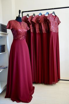f17b97c96eb Charming Chiffon With Top Sequin Burgundy Handmade Bridesmaid Dress