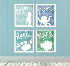 Under the Sea Bathroom Decorations printable decor framed prints sea creatures Blue Green Bathroom decor Undersea themed Bathroom