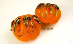 Lentil Pumpkins Handmade Lampwork Glass Bead Set SRA by TLBeads, $12.00