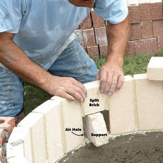 How to Build a DIY Fire Pit — The Family Handyman Fire Pit Base, Fire Pit Bench, Easy Fire Pit, How To Build A Fire Pit, Wood Fire Pit, Fire Pit Grill, Concrete Fire Pits, Fire Fire, Fire Pit Landscaping