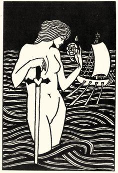 Aubrey Vincent Beardsley - Illustration zu »König Arthurs Tod« von Sir Thomas Malory, Buchschmuck [1]