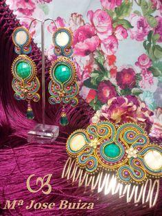 Complementos de Flamencas flecos flamenquitas: Pendientes  de flamencas Soutache Jewelry, Hair Comb, Shibori, Beaded Embroidery, Headbands, Bag Accessories, Beads, Projects To Try, Crafts