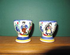 French Egg Cups, HenRiot Quimper, Quimper Style, French Folk Pottery, Faience