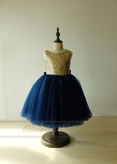 Navy flower girl dress gold top first por Weddingcollection en Etsy