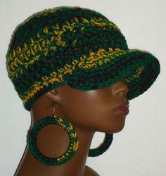 Jamaican Flag Colors Chunky Crochet Baseball Cap and Earrings by Razonda Lee Chunky Crochet, Crochet Hats, Jamaica Outfits, Cloak And Dagger, Flag Colors, Cute Hats, Baseball Caps, Beanie, Earrings