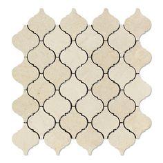 Crema Marfil Marble Polished Lantern Arabesque Mosaic Tile