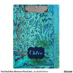 Teal And Blue Abstract Floral Swirls Frame Name Clipboards http://www.zazzle.com/teal_and_blue_abstract_floral_swirls_frame_name_clipboards-256525444433216810?rf=238588924226571373