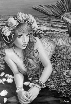 Mermaid Siren Fantasy Myth Mythical Mystical Legend Coloring pages colouring adult detailed advanced printable Kleuren voor volwassenen coloriage pour adulte anti-stress kleurplaat voor volwassenen.