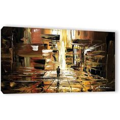ArtWall Milen Tod Liquid City Gallery-wrapped Canvas, Size: 18 x 36, Orange