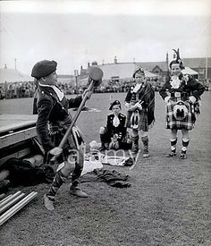 Crieff Highland Gathering At Market Park. While waiting his turn to compete in the Highland Dancing competition. Bill Forsyth is sitting the dancer