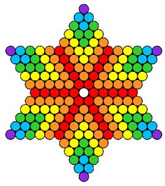 6 point star with simple flowers perler hama bead pattern Perler Bead Designs, Hama Beads Design, Perler Bead Art, Fuse Bead Patterns, Perler Patterns, Peyote Patterns, Beading Patterns, Kandi Patterns, Jewish Crafts